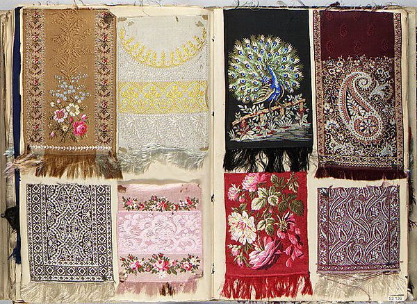heaveninawildflower:  Woven textiles from a French album (circa 1878).  Images and text courtesy The Met.