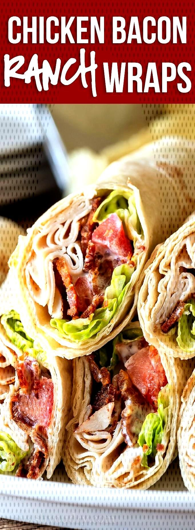 YUM! These quick and easy Chicken Bacon Ranch Wraps are an easy weekday lunch or#bacon