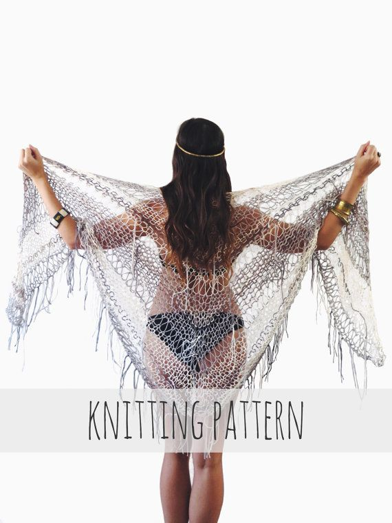 PATTERN for Knit Wrap Beach Cover Up Boho Triangle Poncho Summer ...