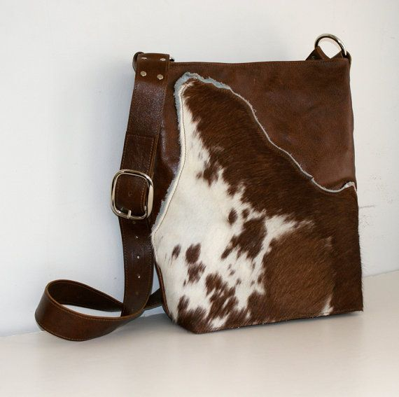 0968919d20 INDIE Brown Leather Tote with Cow Hair on Hide by margeandrudy ...