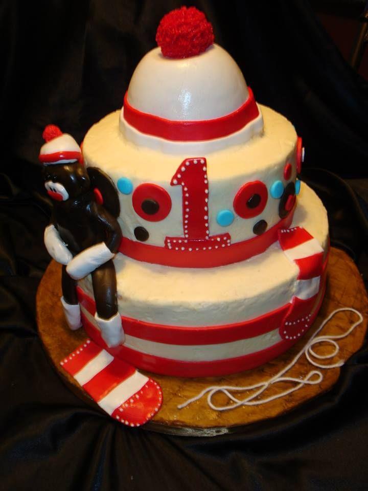 Sock Monkey 1st Birthday Cake Divine Cake Design Pinterest