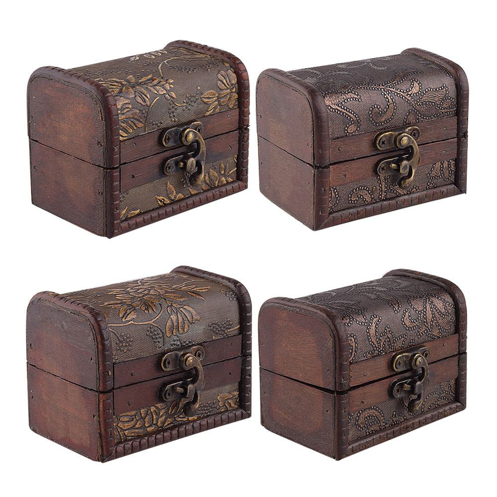Stylish Vintage Small Metal Lock Jewelry Treasure Chest Case