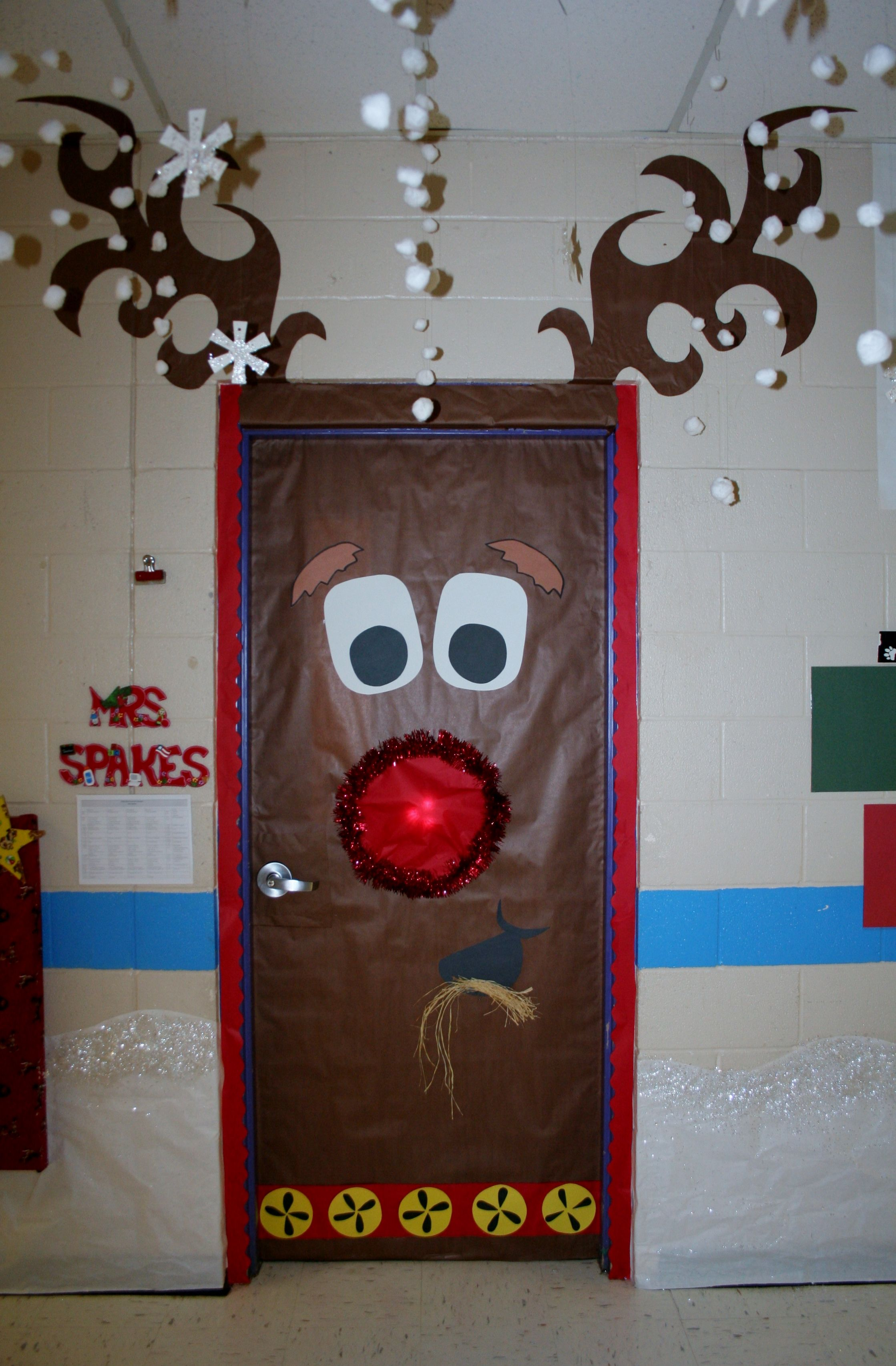 Classroom Door Decoration Ideas Christmas ~ Fouke kindergarten rudolph classroom door school