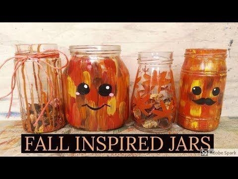 FALL INSPIRED JAR PAINTING IDEAS!! #fall2018 #jarpainting #fallinspired #diy #artsandcraft #diydecor - YouTube