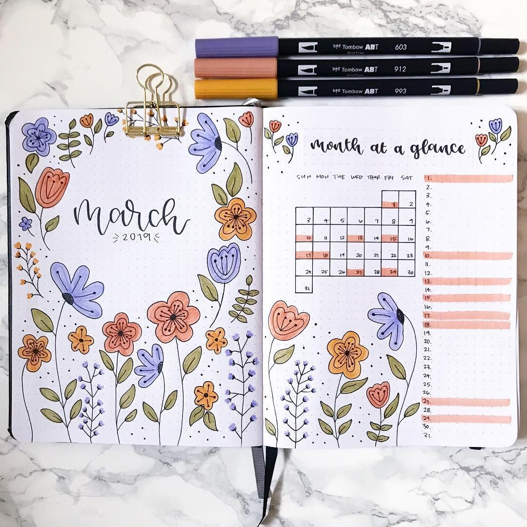 "Andrea on Instagram: ""Sticking with florals for my March theme ✨ . . . . . Inspired by @studyandstuffx94 February theme"