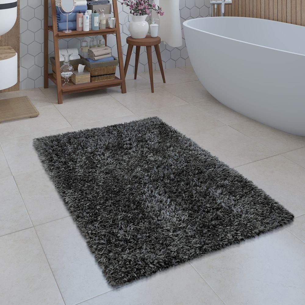Badezimmer Teppich Shaggy Einfarbig Grau Badezimmerteppich Badematte Badteppich