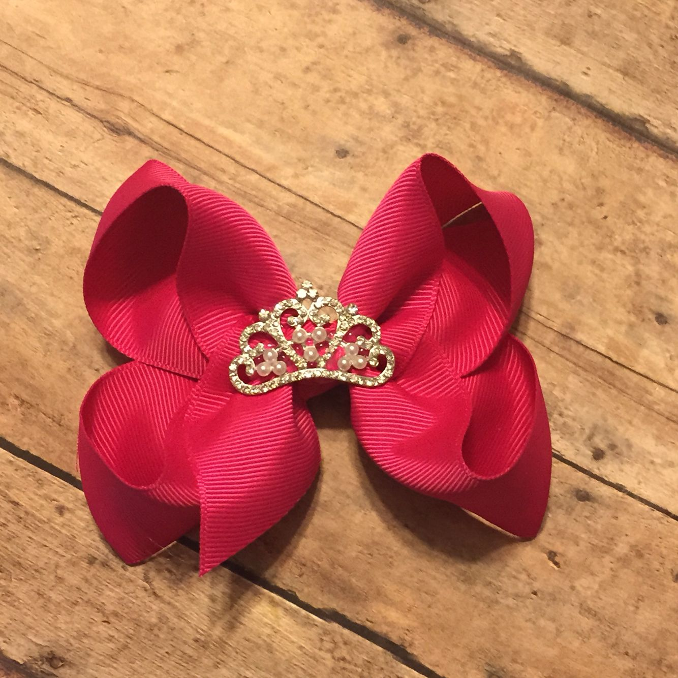 Shocking pink hair bow with crown center princess girl