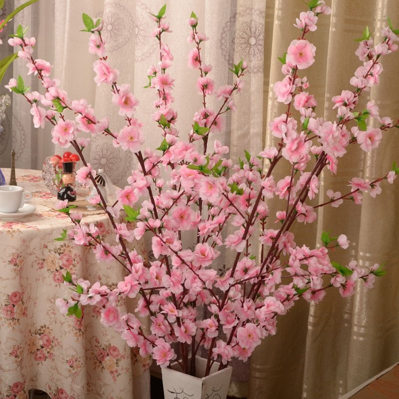 Artificial Cherry Spring Plum Peach Blossom Branch Silk Flower Cherry Tree Diy Wedding Party Decor Cherry Blossom Decor Artificial Flower Branches Fake Flowers
