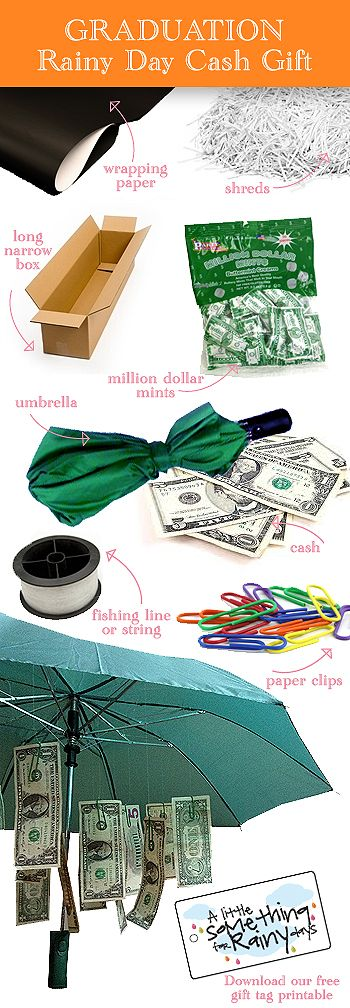 Gift Wrap 101: Graduation Rainy Day Cash Gift... check out our FREE PRINTABLE! http://thegiftingexperts.com/gift-wrap-101-graduation-rainy-day-cash-gift/