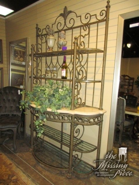 Drexel Heritage Metal Bakers Rack With A Cream Stone Shelf This