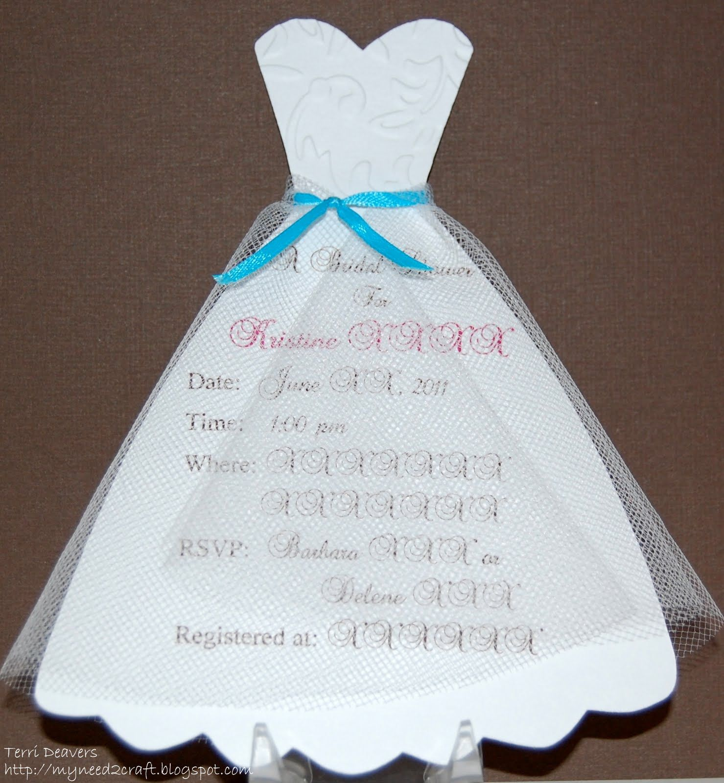dress template MyNeed2Craft Bridal Shower Invitations