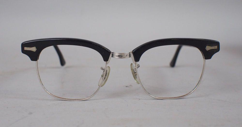 ba04b26065 NOS Unworn Vtg 50s SHURON USA RONSIR Black 44 18 Eyeglasses Browline  Rockabilly