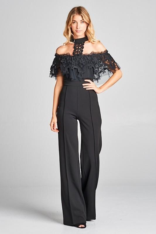 415a903f6bc Black Off Shoulder Choker Neck Wide Leg Jumpsuit