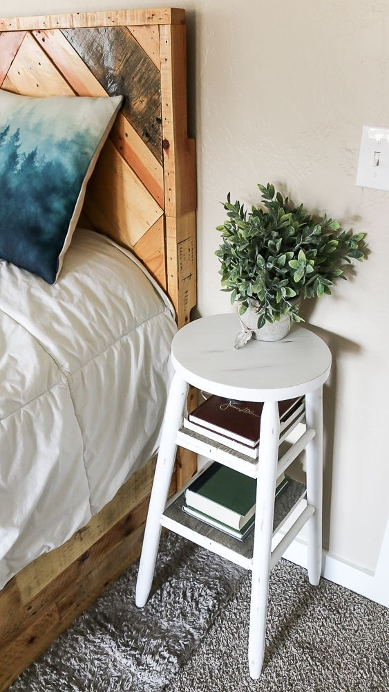 How To Upcycle A Bar Stool Into A Narrow Bedside Table Side Tables Bedroom Attic Bedroom Decor Narrow Bedside Table