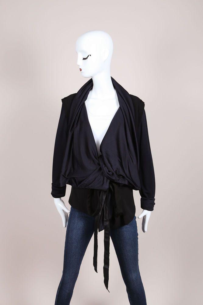 Karolina Zmarlak Black Navy Draped Collar Reversible L/S Belted Jacket SZ XS  #KarolinaZmarlak #BasicJacket