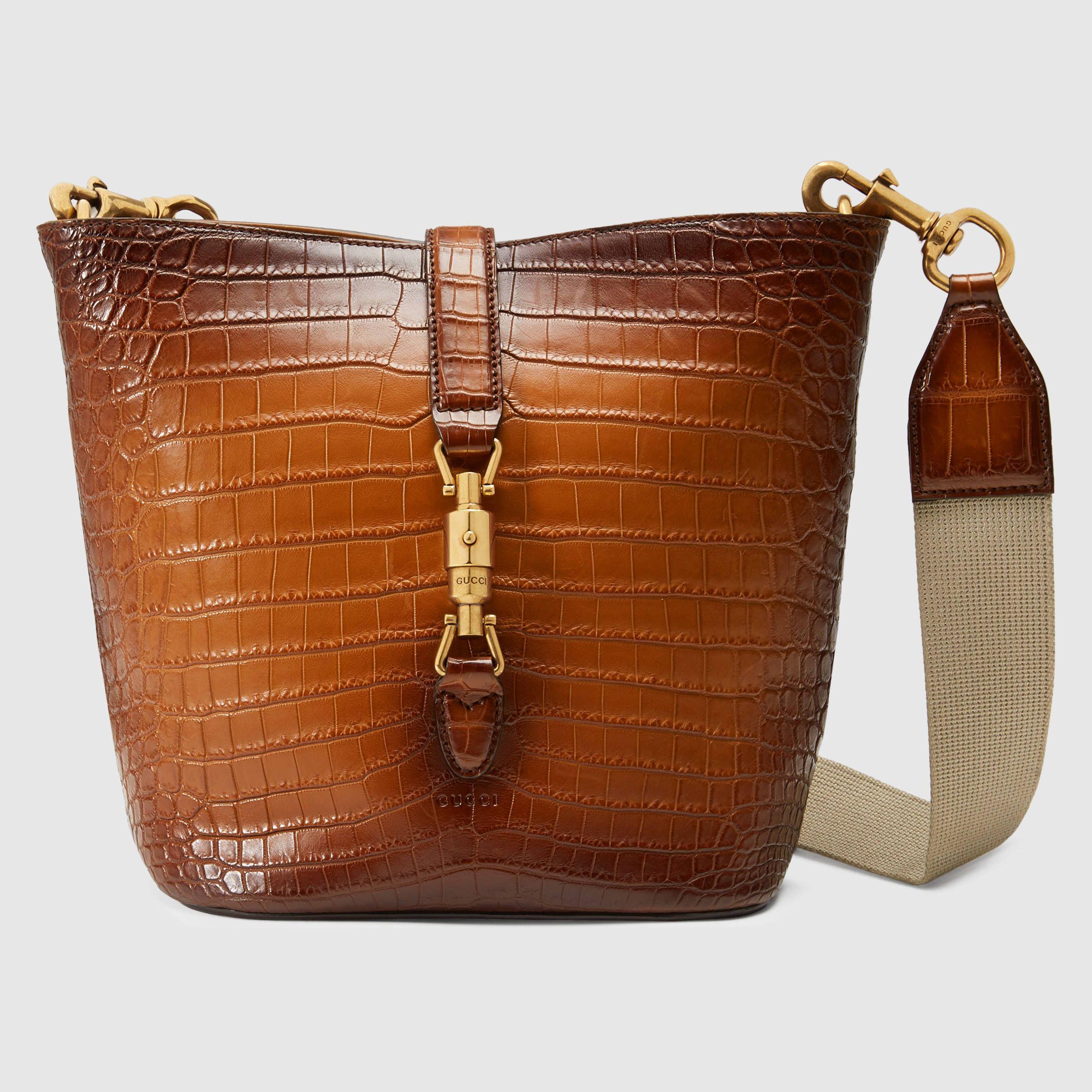 d88169bd4 Gucci Women - Jackie Soft crocodile bucket bag - 380579LI54A2565 ...