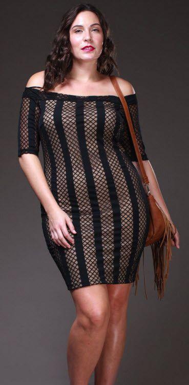 PLUS SIZE- Nude and Black Fish Net Plus Size Dress