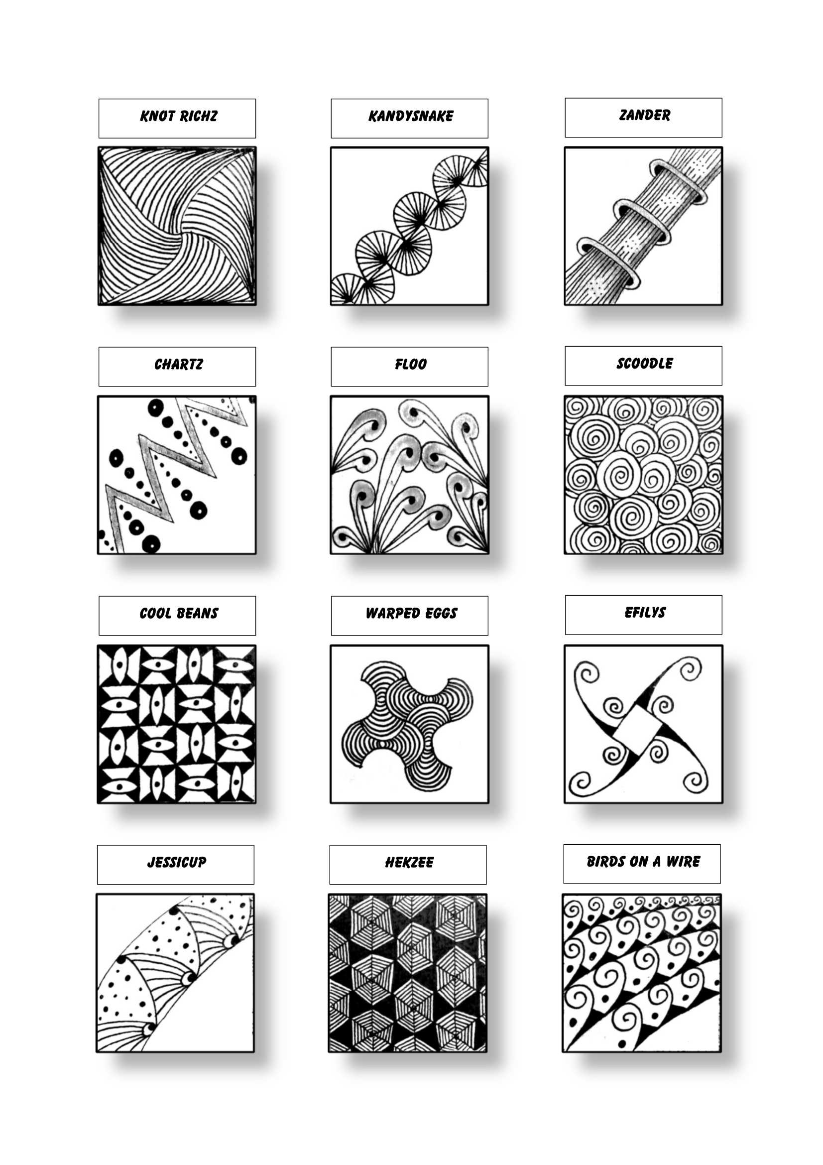 Zentangle Pattern Sheet 18 Patterns: Knot Richz