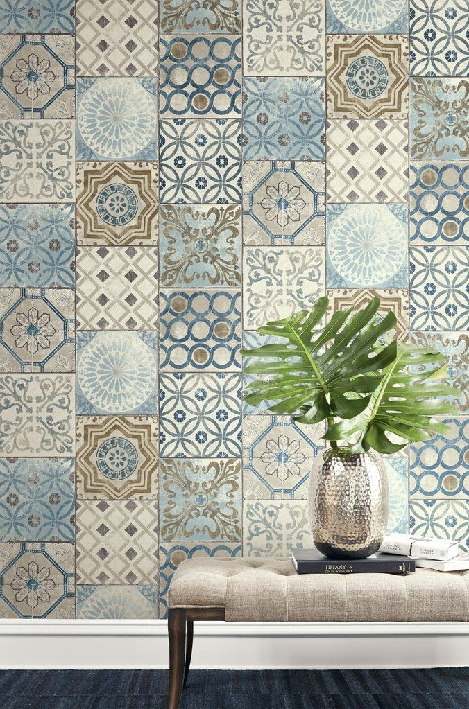 Moroccan Tile Peel And Stick Wallpaper In Neutrals And Greys By Nextwa In 2020 Spanish Style Bathrooms Mosaic Wallpaper Moroccan Home Decor