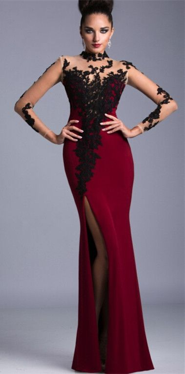 55078b0d41d Sexy Long Sleeve Black Lace Evening Dress from www.27dress.com