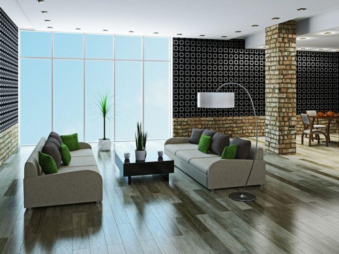 Tapeten Ideen Wohnzimmer Wände Muster Bogenlampe Bodenfliesen