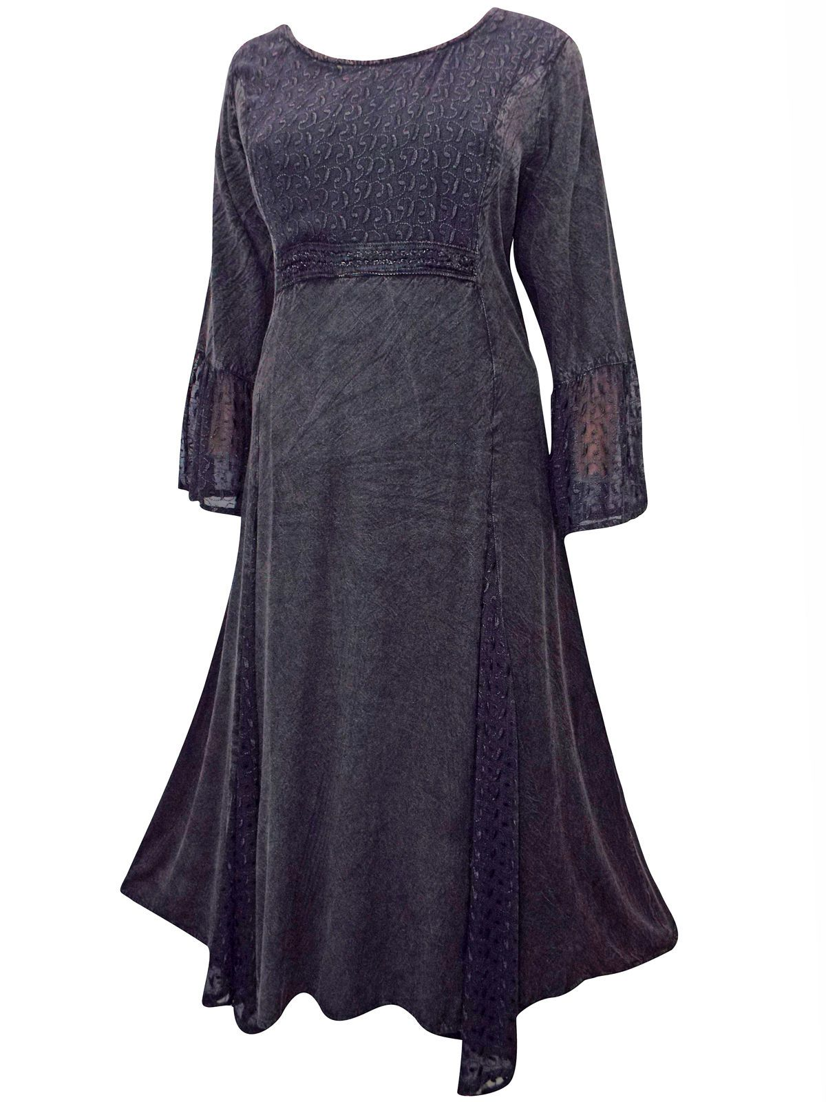 f81d64a0ae4 eaonplus BLACK Embroidered Panelled Bell Sleeve Dress Plus size 18 20 to  30 32