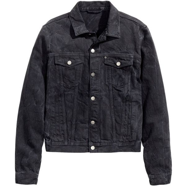 H&M Denim Jacket $25 (€22) ❤ liked on Polyvore featuring outerwear, jackets, tops, black, jean jacket, h&m jackets, flap jacket and denim jacket
