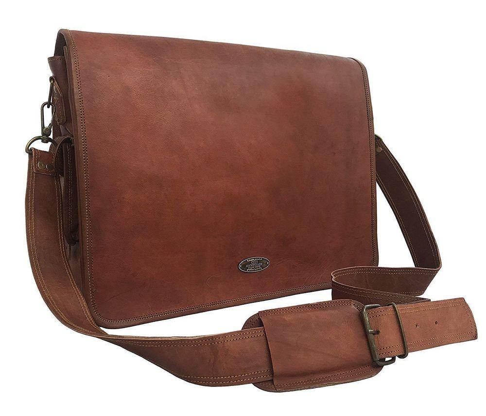 Bag Leather Vintage Men Messenger S Satchel Shoulder Laptop Briefcase Genuine