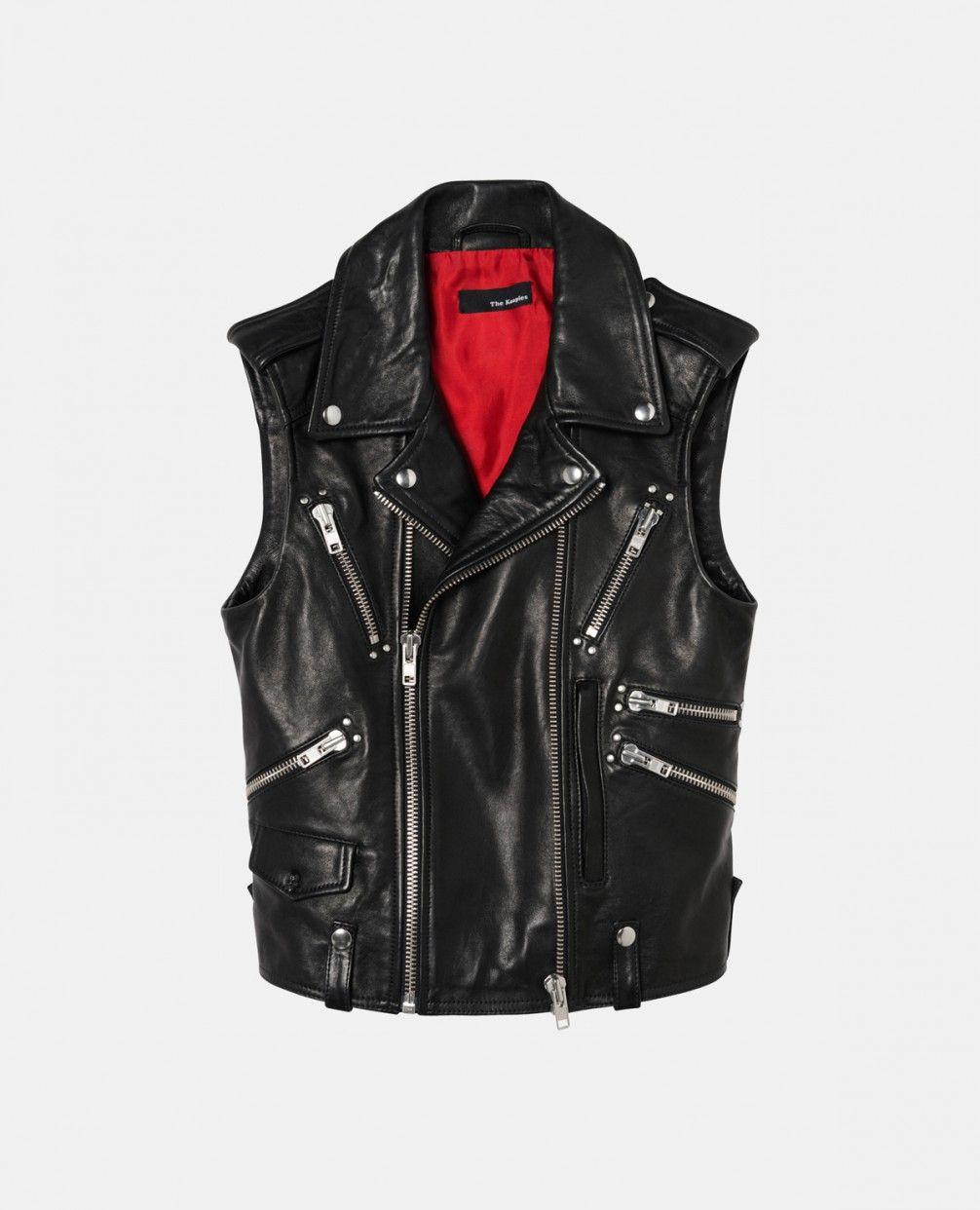 Biker jacket in lambskin leather without sleeves - Lookbook The Kooples -  LookBook - The Kooples
