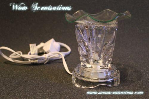 CLEAR ELECTRIC TART BURNER AROMA LAMP DIMMER SWITCH LIGHT OIL WARMER