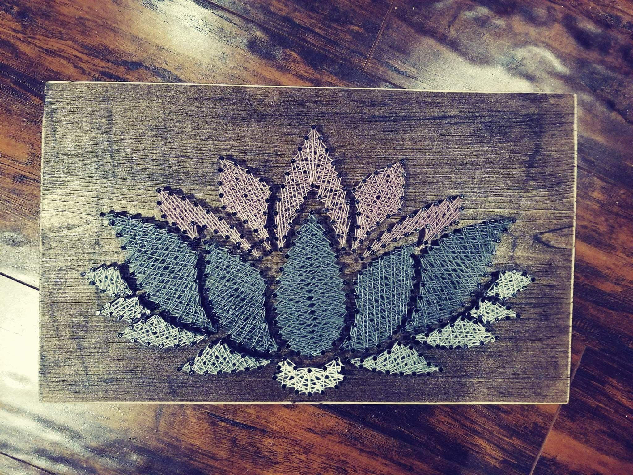 String Art Nails Stained Wood String Colour Lotus Flower