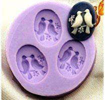 Allforhome Mini moule en silicone à 3 cavités pour décorations de gâteaux en pâte à sucre Motif oiseaux de 2,4cm