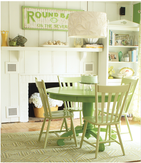 Love the painted table. Option for breakfast nook table.