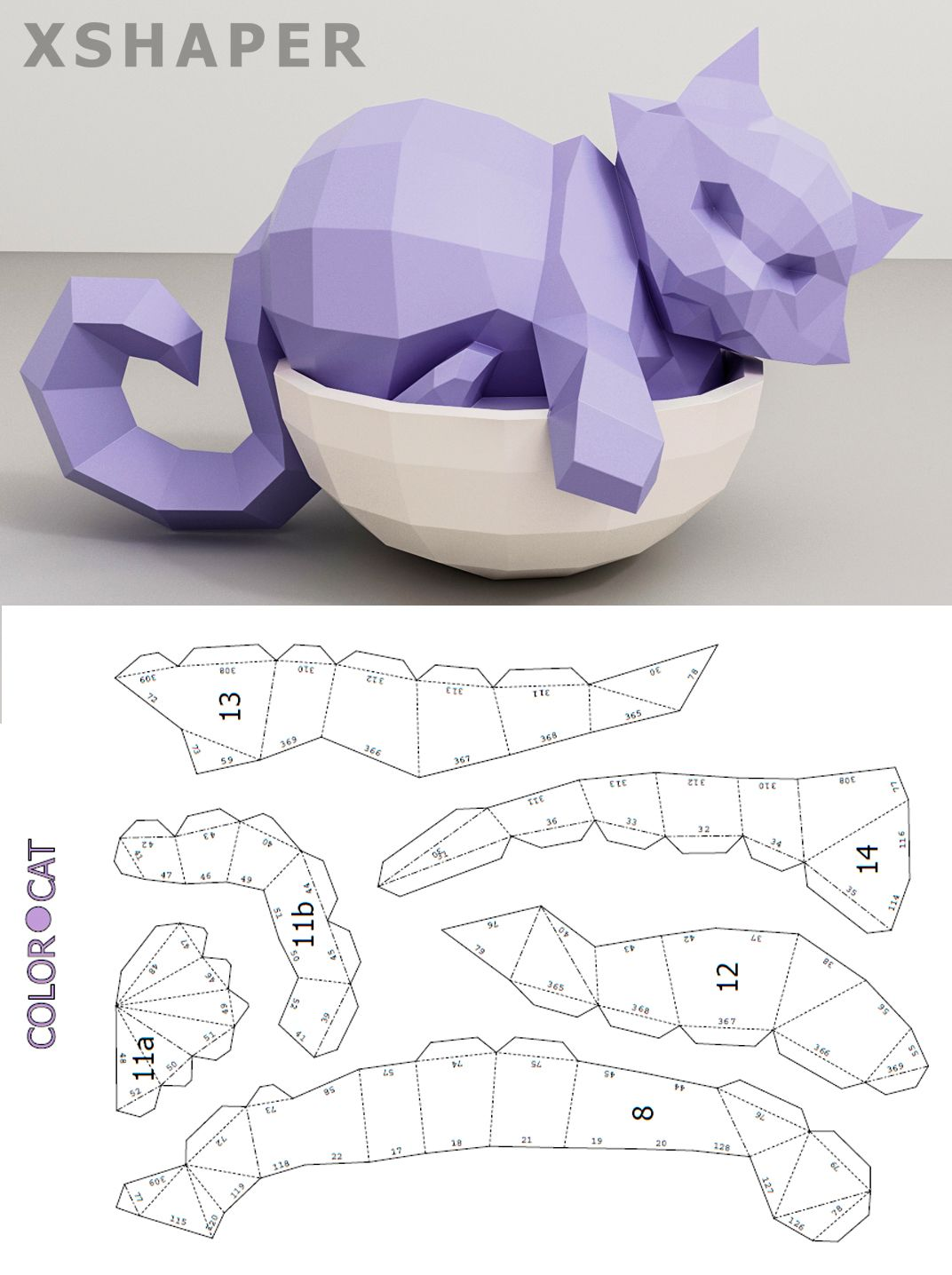 Papercraft Cat In A Bowl 3d Paper Craft Cat Model Digital Etsy 3d Paper Crafts Paper Crafts Origami Paper Crafts Diy