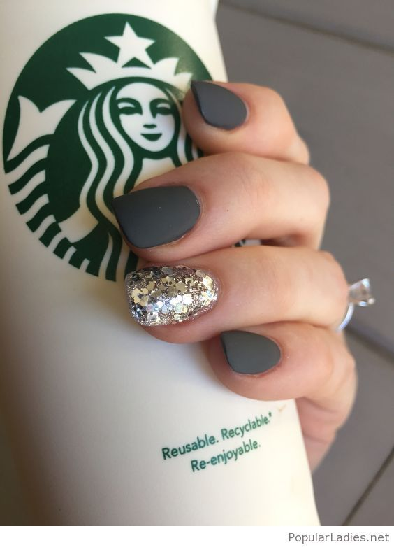 Grey Matte Nails With Glitter Short Gel Nails Trendy Nails Squoval Nails