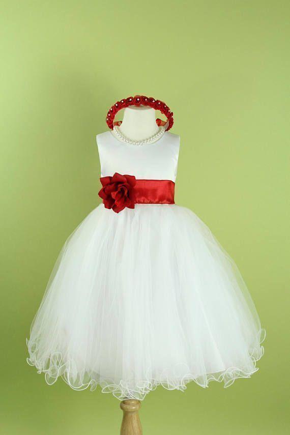 Flower Girl Dress with Curl Tulle Skirt for Baby, Toddler, Girls ...