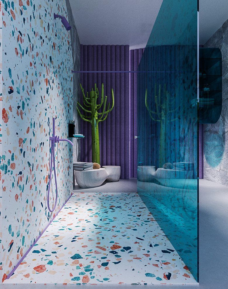 The color is dispersed throughout the white shower space