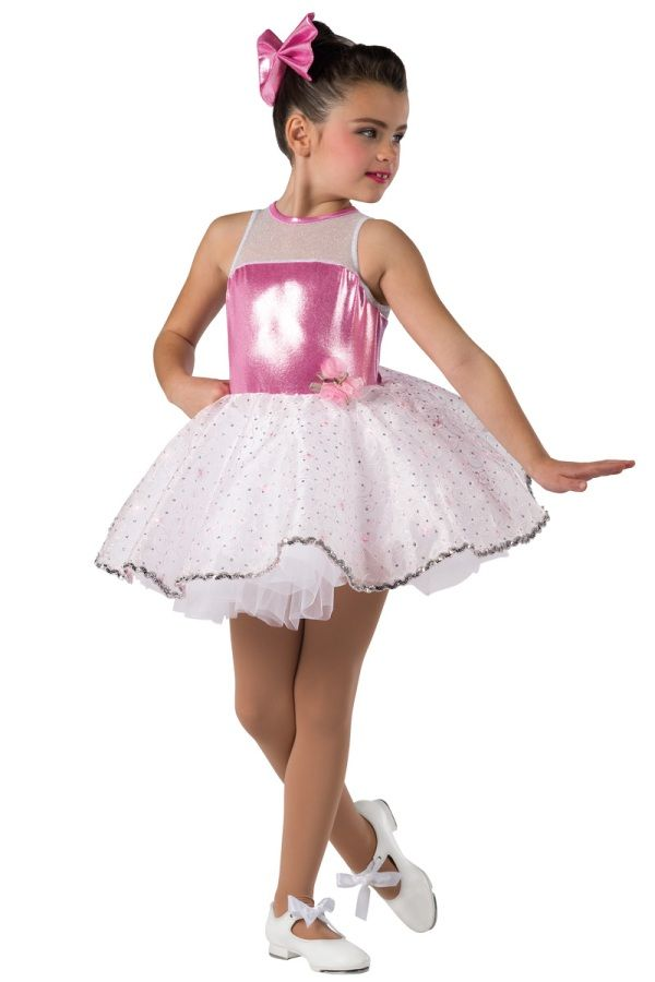 b93ad73d31 Style# 17134 SUGAR AND SPICE - PINK Foil printed spandex and white glitter  mesh leotard with attached glitter printed embroidered organza top skirt.