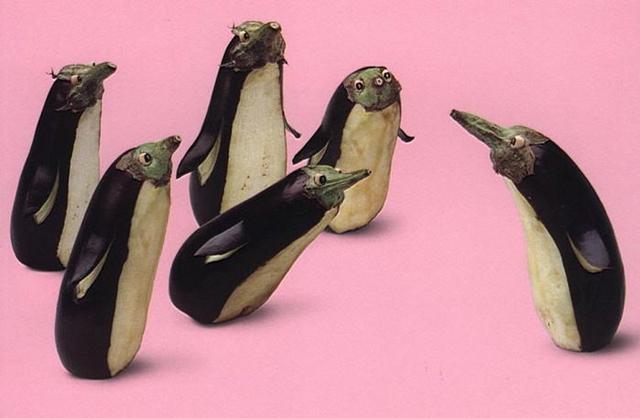 food art creations - eggplant penguins!