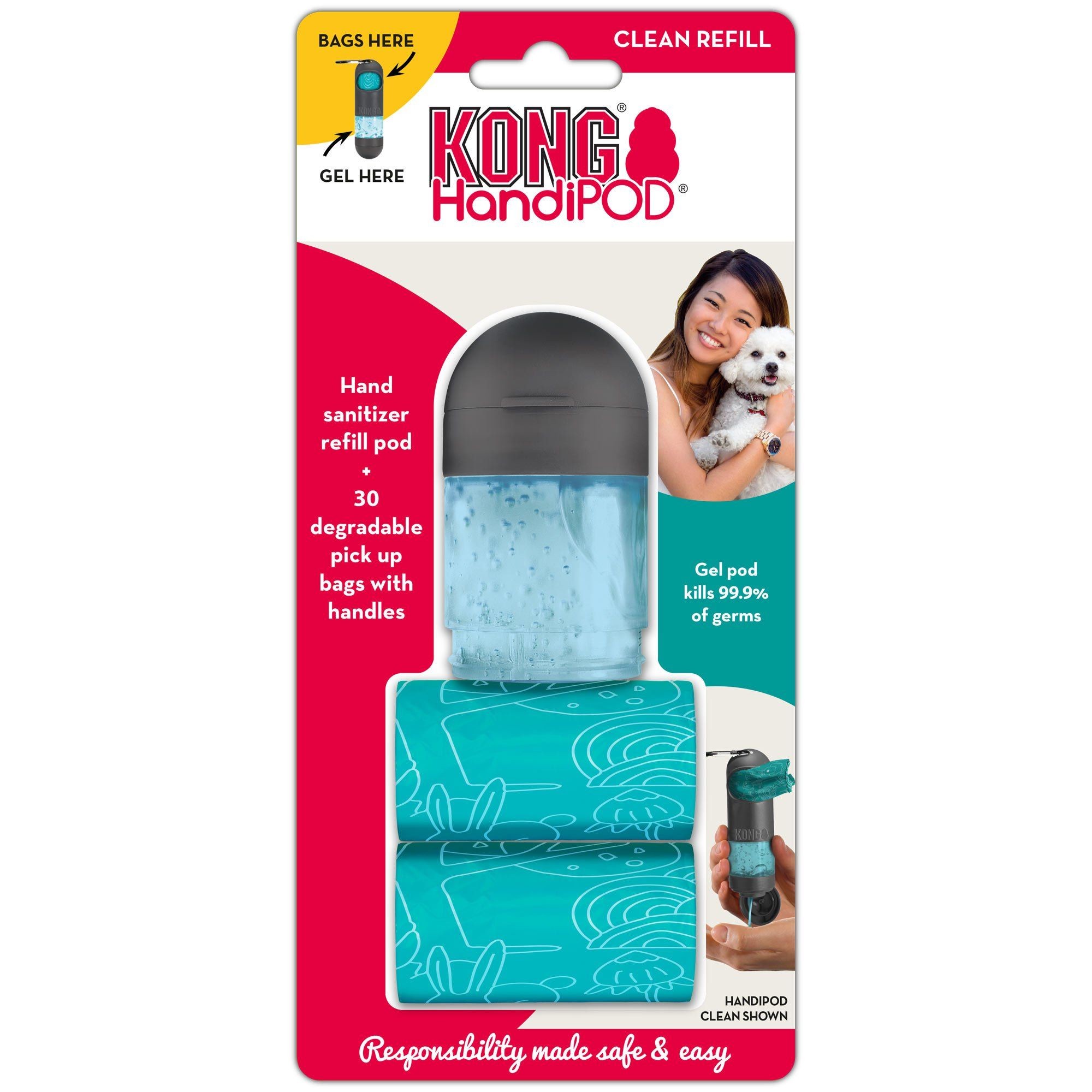 Kong Handipod Refill Hand Sanitizer And 2 Bag Rolls One Size Fits
