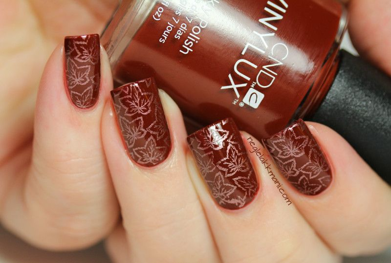 CND Vinylux - Burnt Romance, stamped with China Glaze - Delight and Bundle Monster stamping plate BM-H11