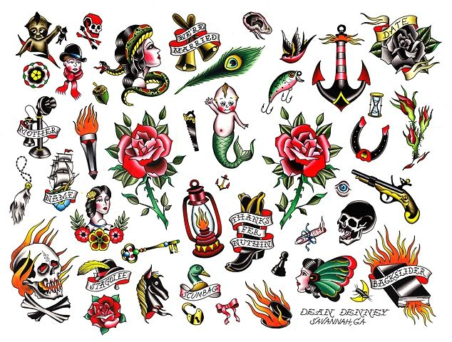 Take Your Shot Fanzine: Old School Tattoo flash, by Dean Denney