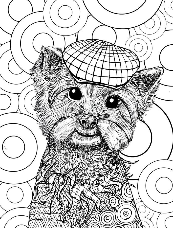 Cute Dog Coloring Page Doodle Art