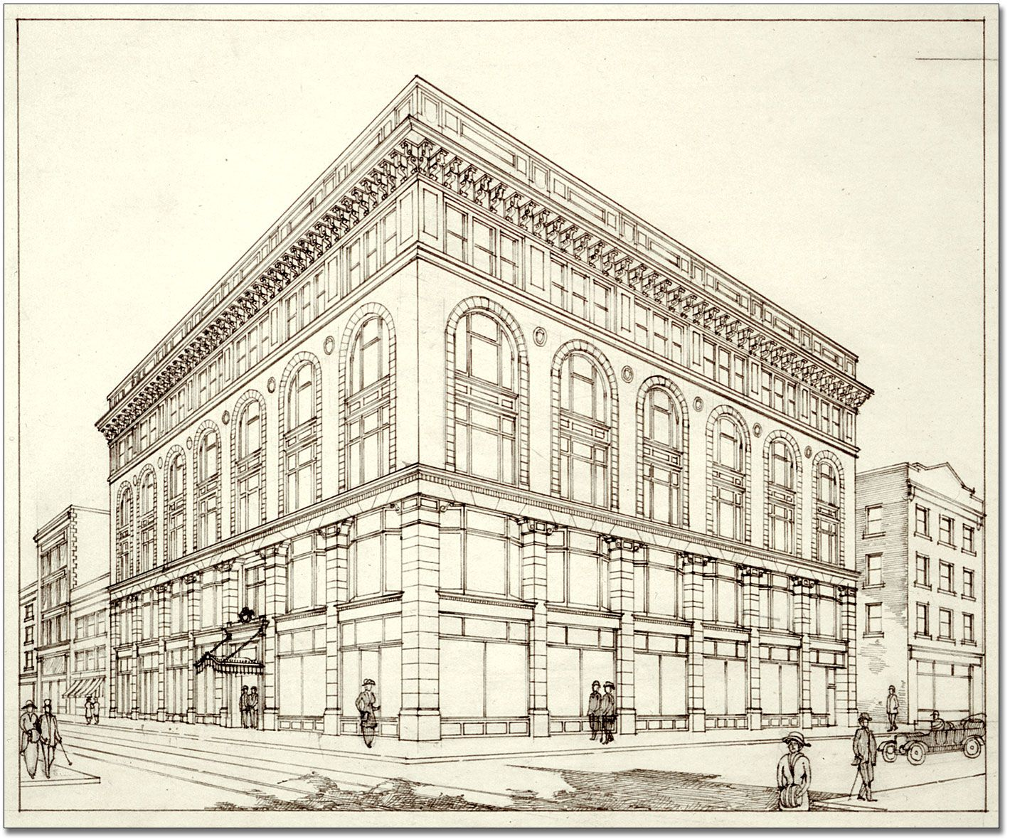 Bank this image of a bank is drawn in two point for Exterior 2 point perspective