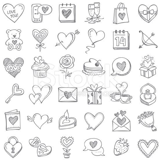 Doodle Icon Set Set For Valentine S Day Valentine Doodle