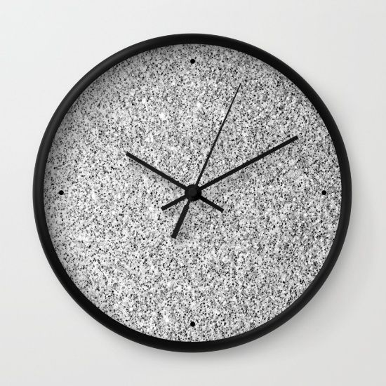 The Glittery World Of Silver Bedroom Ideas: Beautiful Silver Glitter Sparkles Wall Clock By #PLdesign