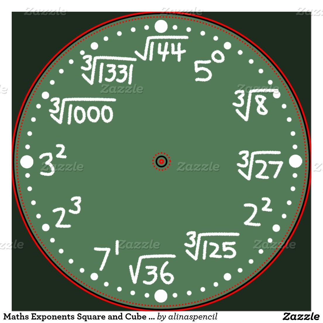 Maths Exponents Square and Cube Roots Wall Clock   Zazzle.com   Exponents [ 1104 x 1104 Pixel ]