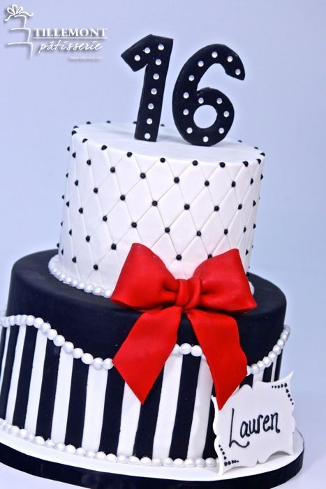 Lauren's 16th Sweet 16 Cakes | Patisserie Tillemont | Montreal #redbow #blackandwhite