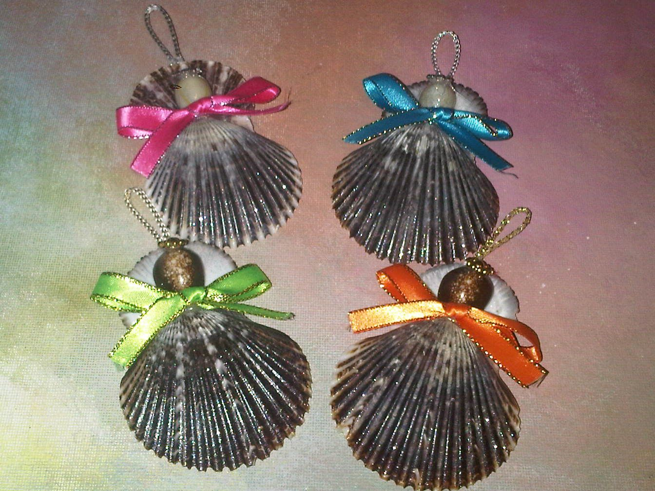 Shell ornaments to make christmas ornaments grey scallop for Shell craft ideas