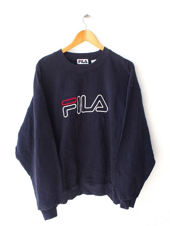 Vintage FILA Small Logo Colorful Design Running Gym Sweatshirt Black Color Sweater Casual Classic Jumper